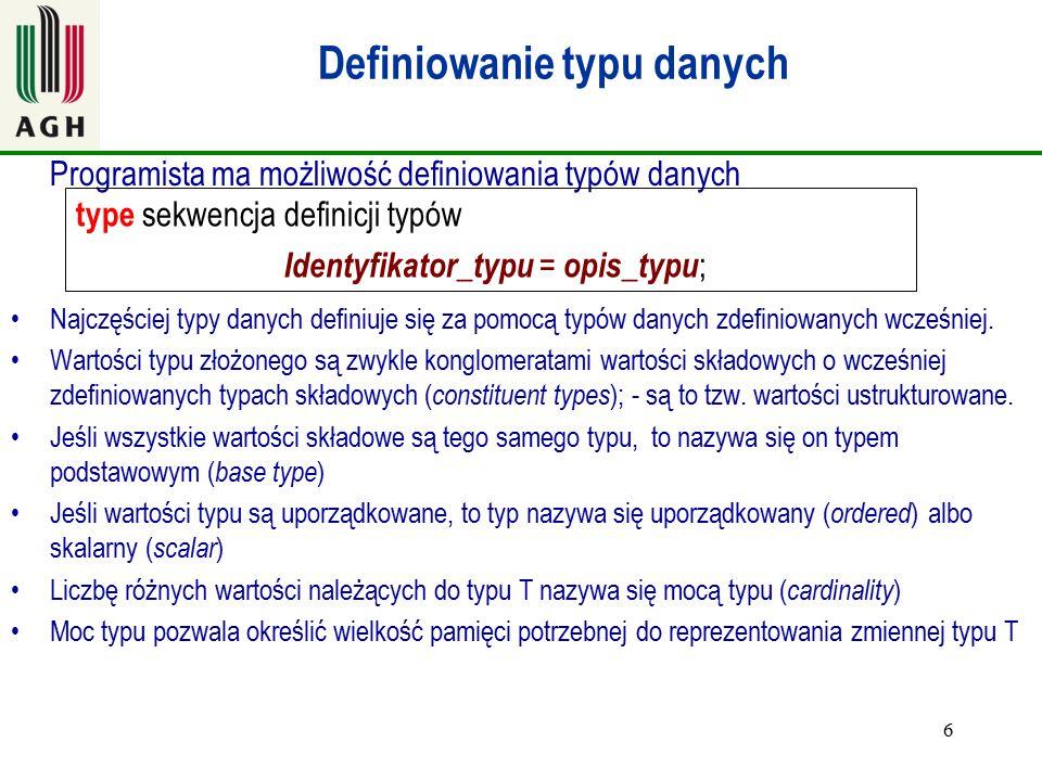 Definiowanie typu danych