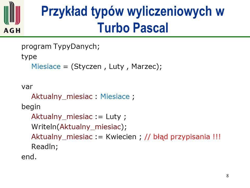 Przykład typów wyliczeniowych w Turbo Pascal