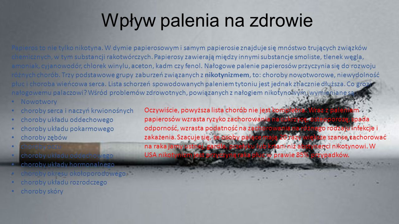 Wpływ palenia na zdrowie