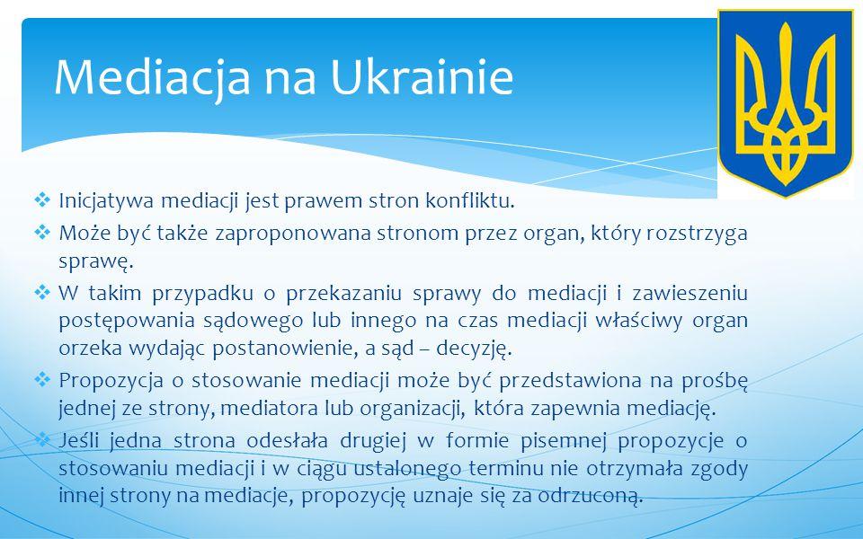 Mediacja na Ukrainie Inicjatywa mediacji jest prawem stron konfliktu.