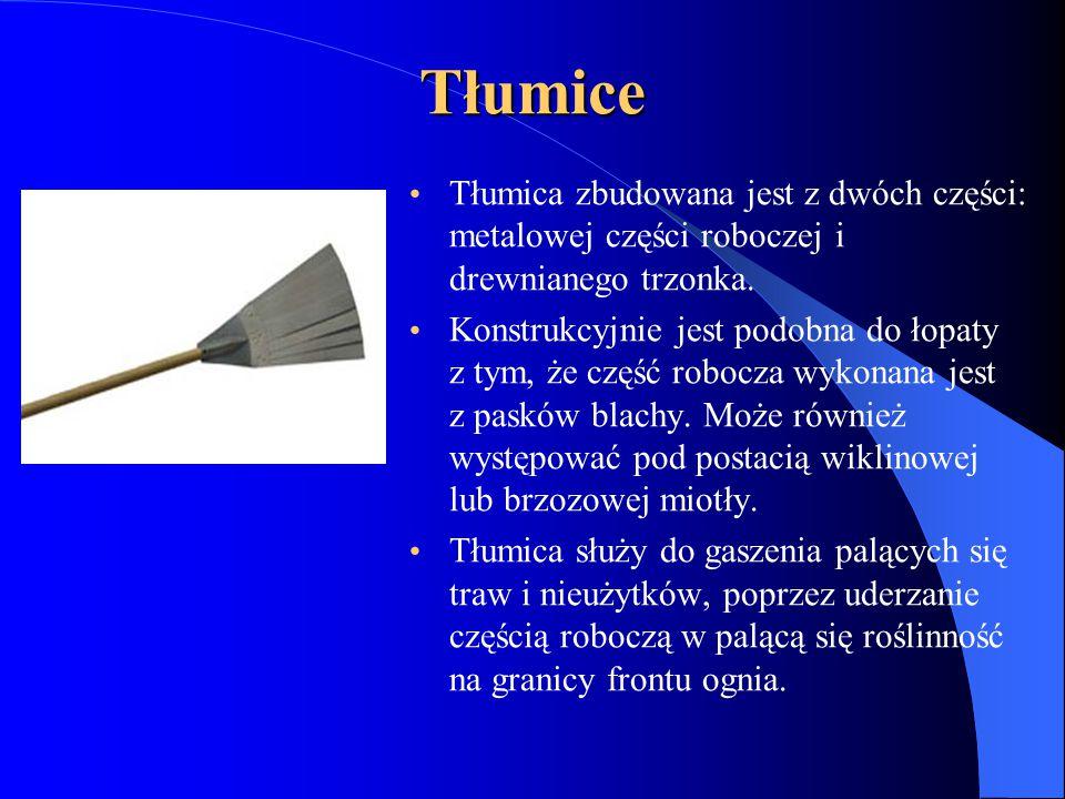 Tłumice Tłumica zbudowana jest z dwóch części: metalowej części roboczej i drewnianego trzonka.