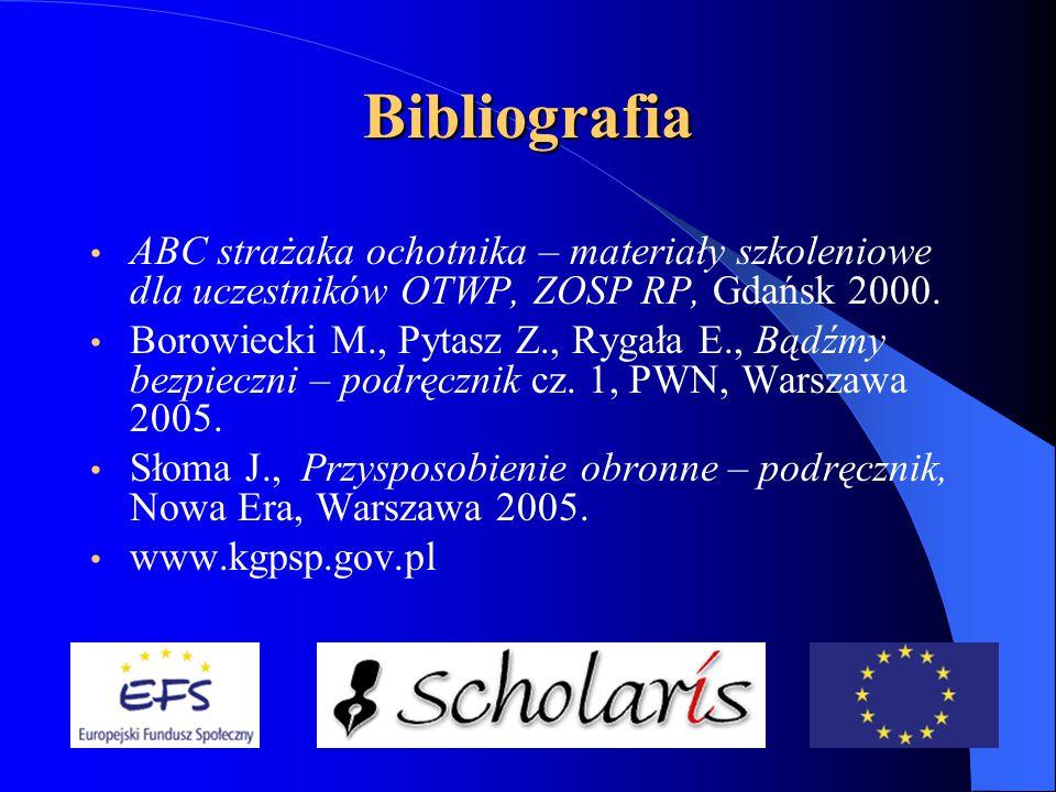 Bibliografia ABC strażaka ochotnika – materiały szkoleniowe dla uczestników OTWP, ZOSP RP, Gdańsk 2000.