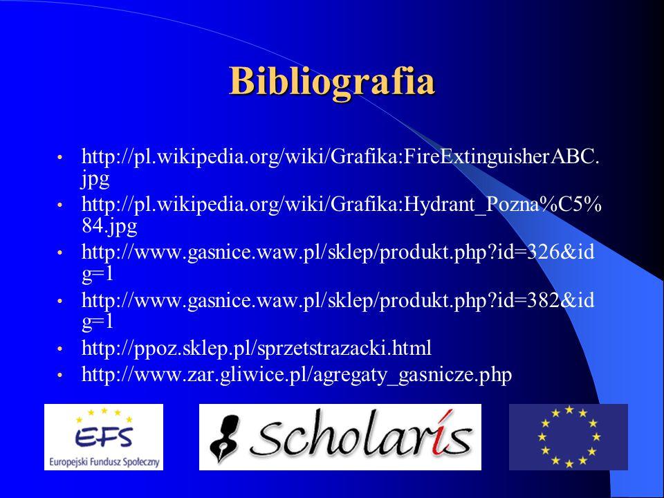 Bibliografia http://pl.wikipedia.org/wiki/Grafika:FireExtinguisherABC.jpg. http://pl.wikipedia.org/wiki/Grafika:Hydrant_Pozna%C5%84.jpg.
