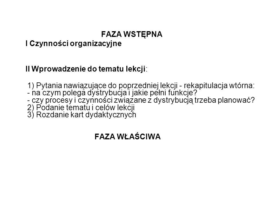 FAZA WSTĘPNA I Czynności organizacyjne. II Wprowadzenie do tematu lekcji: