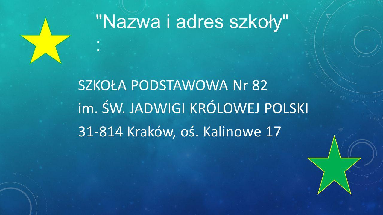 Nazwa i adres szkoły : SZKOŁA PODSTAWOWA Nr 82