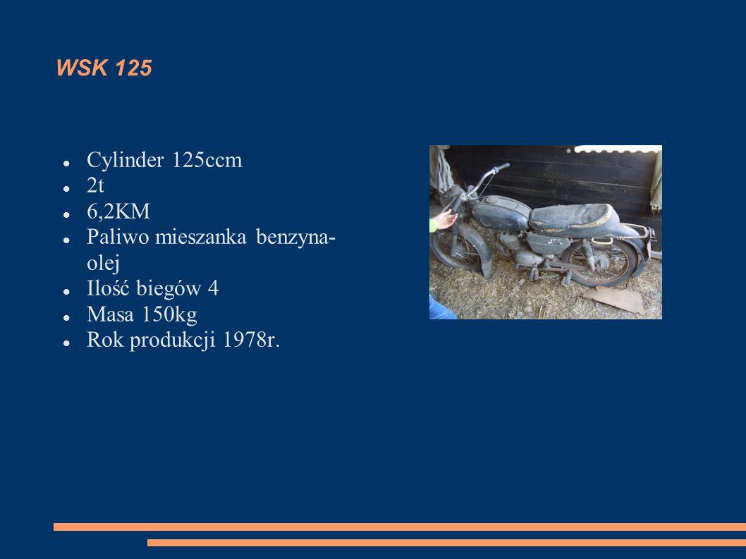 WSK 125 Cylinder 125ccm. 2t. 6,2KM. Paliwo mieszanka benzyna-olej. Ilość biegów 4. Masa 150kg.