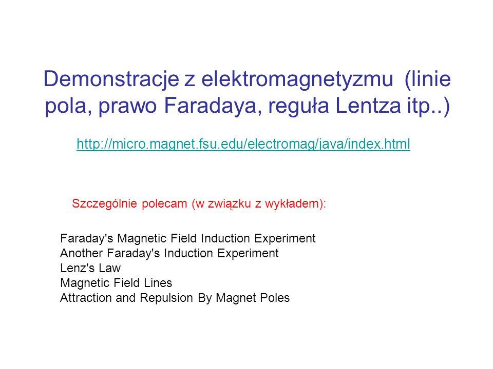 Demonstracje z elektromagnetyzmu (linie pola, prawo Faradaya, reguła Lentza itp..)