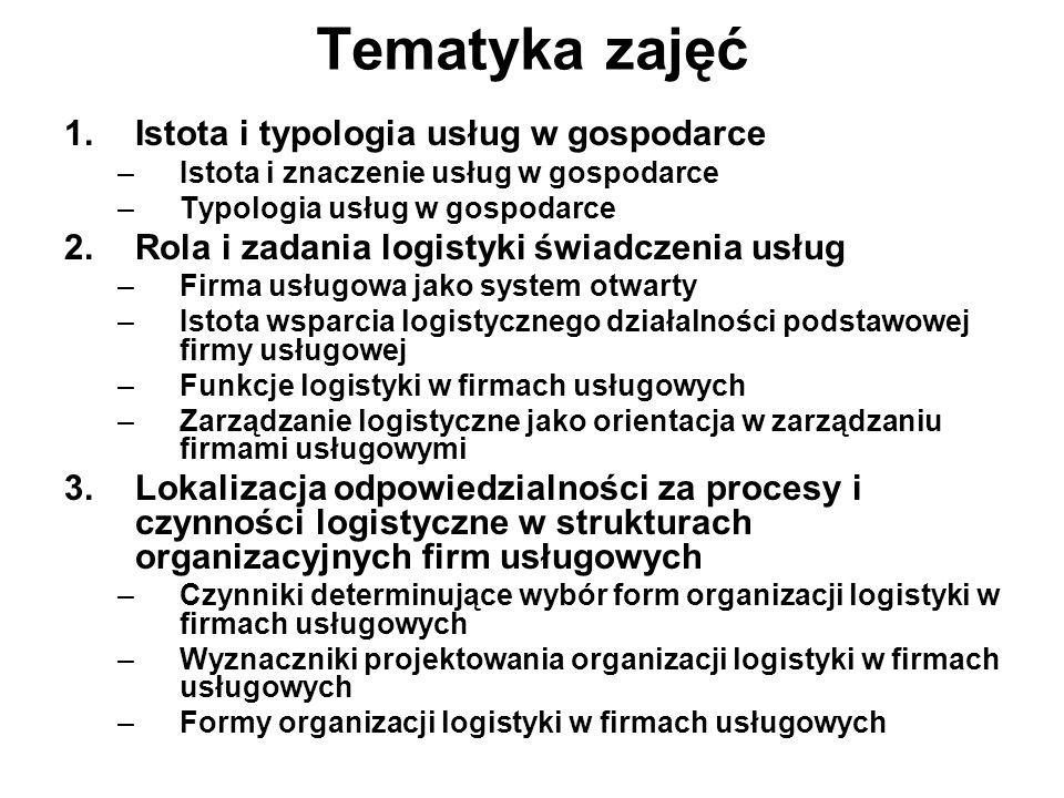 Tematyka zajęć Istota i typologia usług w gospodarce