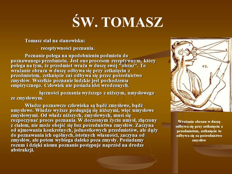 ŚW. TOMASZ - receptywności poznania.