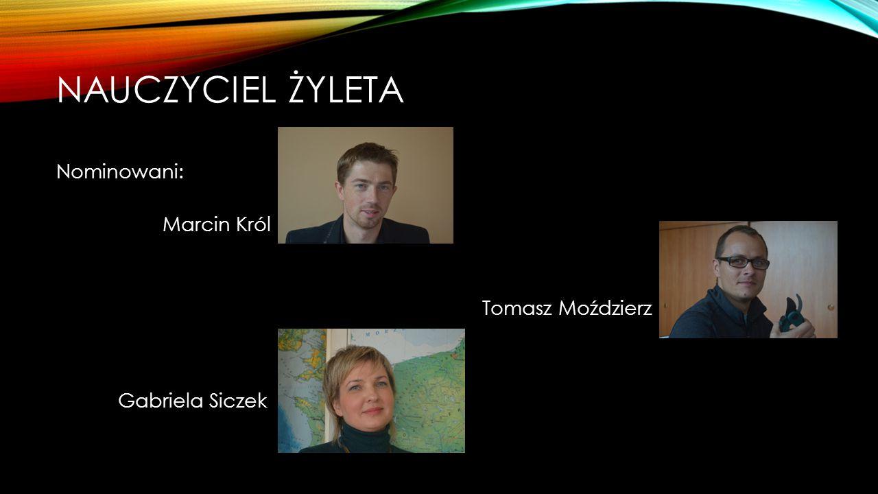 Nauczyciel żyleta Nominowani: Marcin Król Tomasz Moździerz Gabriela Siczek