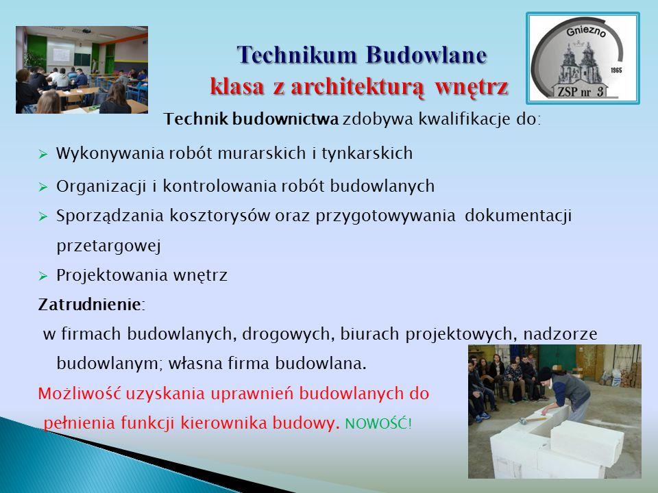 Technikum Budowlane klasa z architekturą wnętrz