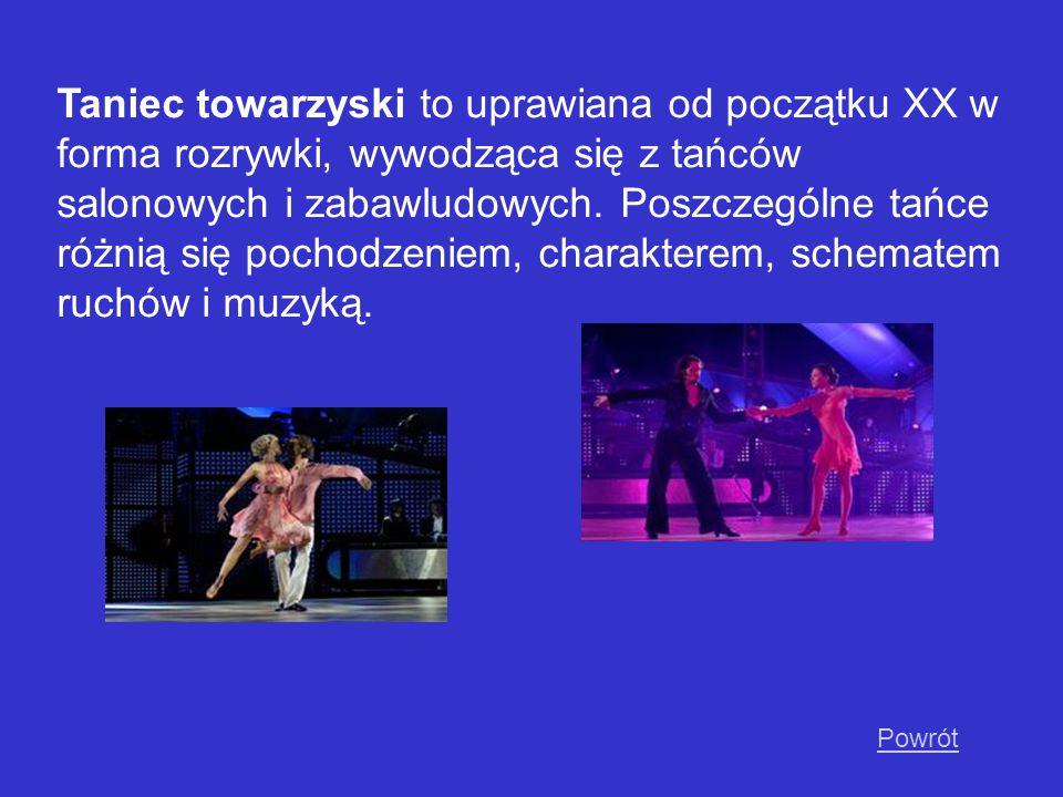 Taniec towarzyski to uprawiana od początku XX w forma rozrywki, wywodząca się z tańców salonowych i zabawludowych. Poszczególne tańce różnią się pochodzeniem, charakterem, schematem ruchów i muzyką.