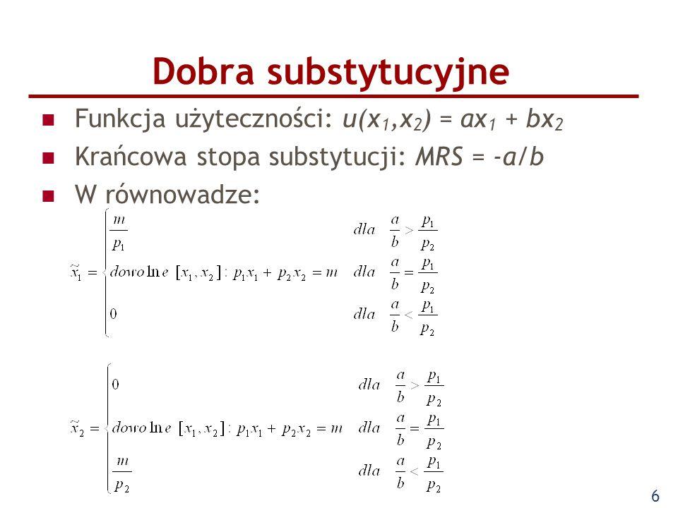 Dobra substytucyjne Funkcja użyteczności: u(x1,x2) = ax1 + bx2