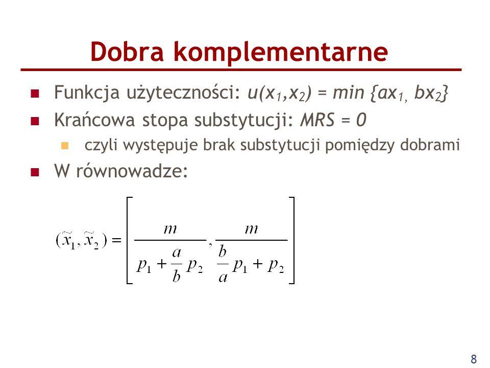 Dobra komplementarne Funkcja użyteczności: u(x1,x2) = min {ax1, bx2}