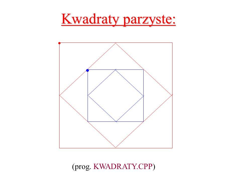 Kwadraty parzyste: (prog. KWADRATY.CPP)