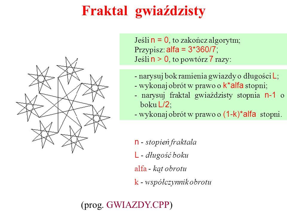 Fraktal gwiaździsty (prog. GWIAZDY.CPP)
