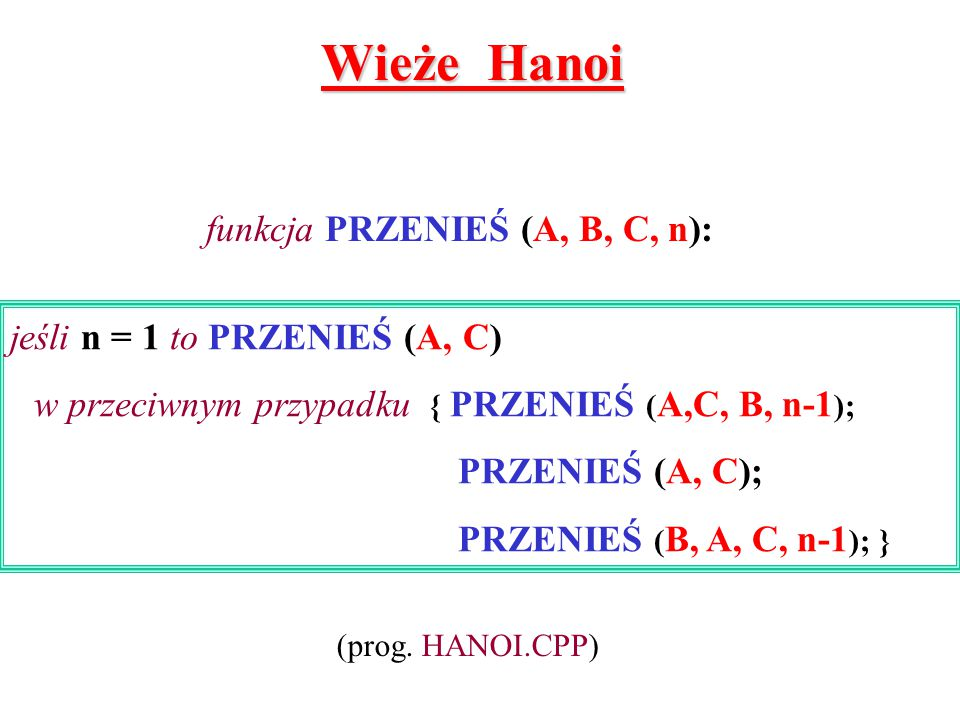 funkcja PRZENIEŚ (A, B, C, n):