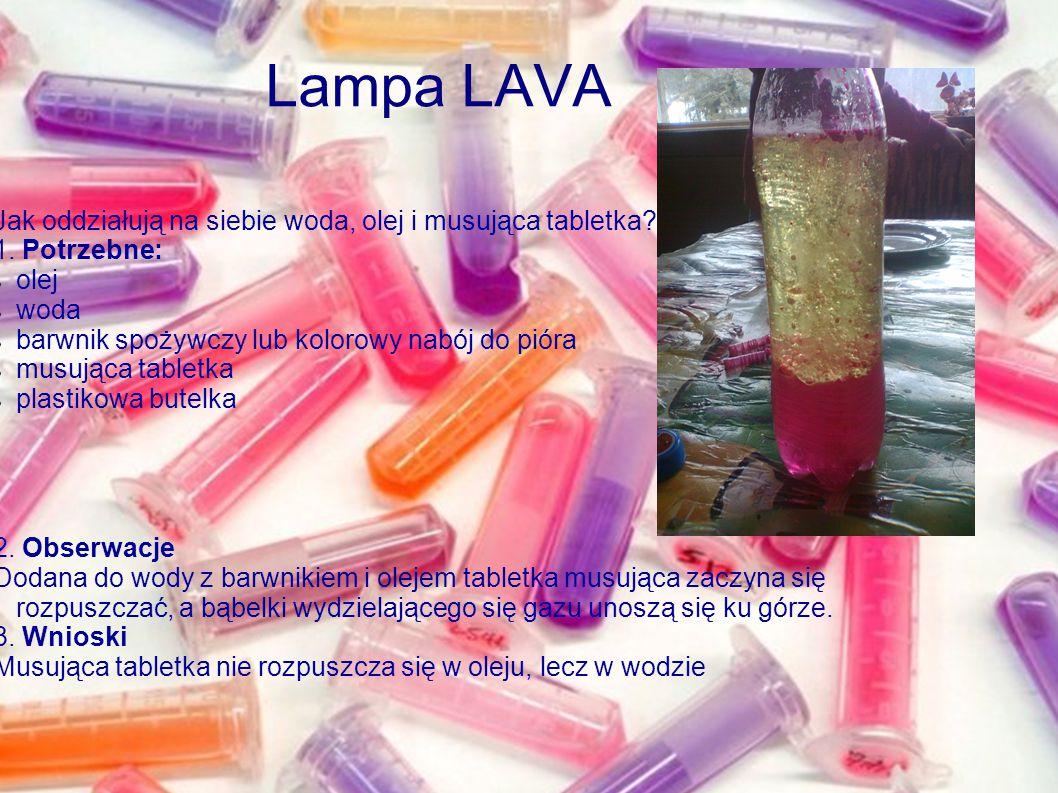 Lampa LAVA Jak oddziałują na siebie woda, olej i musująca tabletka