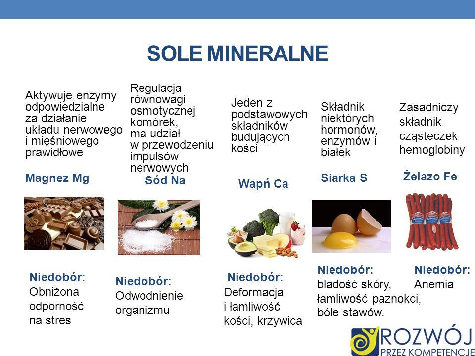 SOLE MINERALNE Regulacja równowagi osmotycznej komórek, ma udział w przewodzeniu impulsów nerwowych.