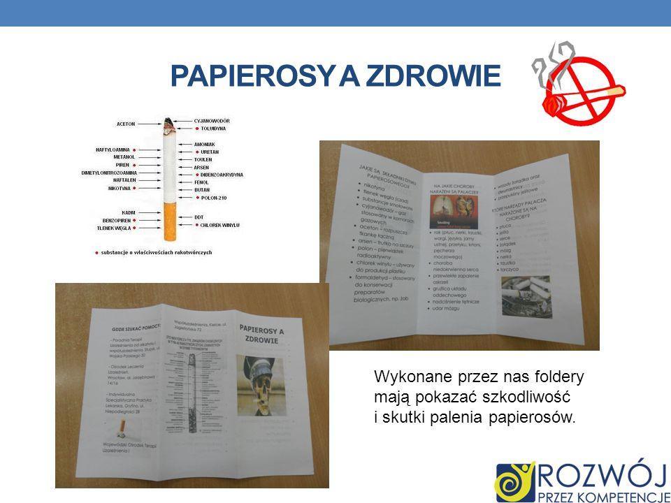 PAPIEROSY A ZDROWIE Wykonane przez nas foldery
