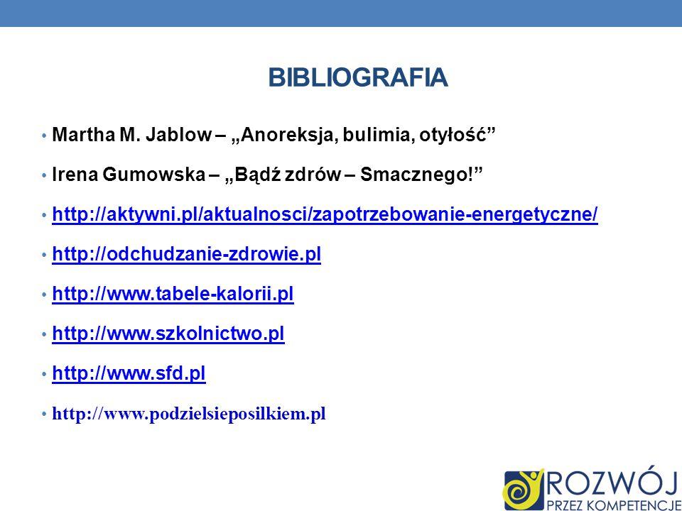 """BIBLIOGRAFIA Martha M. Jablow – """"Anoreksja, bulimia, otyłość"""