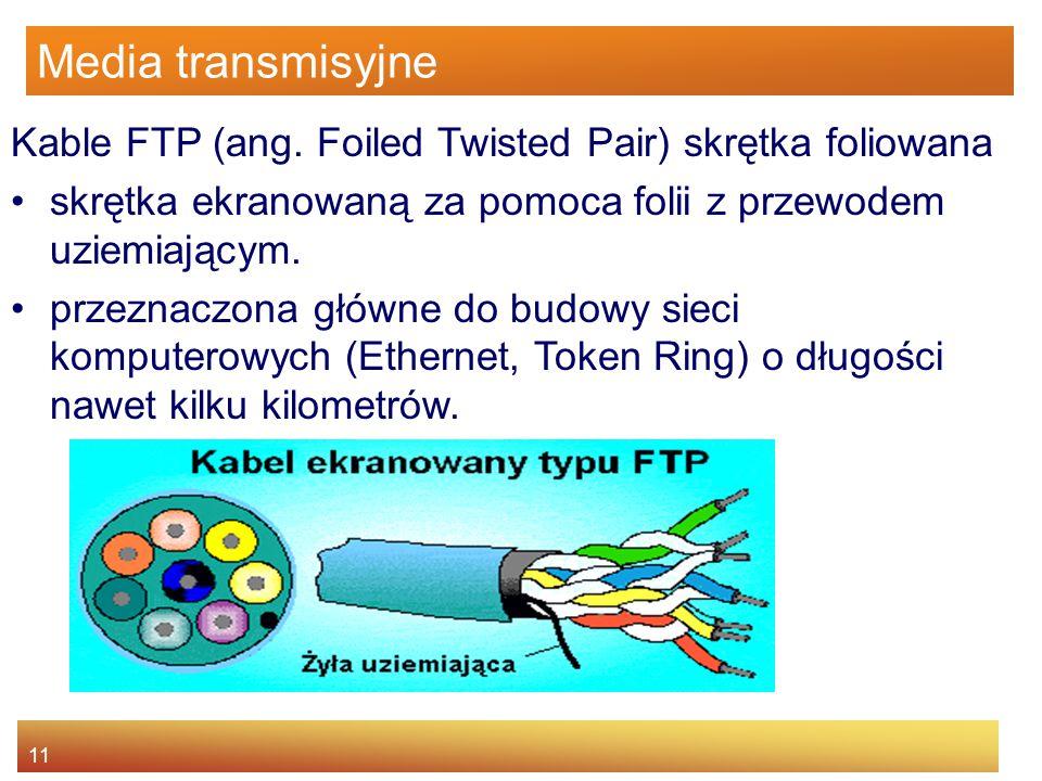 Media transmisyjne Kable FTP (ang. Foiled Twisted Pair) skrętka foliowana. skrętka ekranowaną za pomoca folii z przewodem uziemiającym.