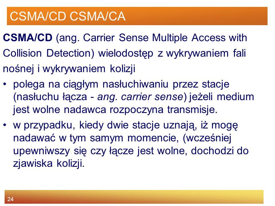CSMA/CD CSMA/CA CSMA/CD (ang. Carrier Sense Multiple Access with