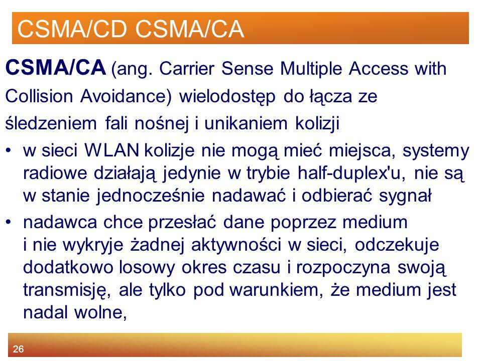 CSMA/CD CSMA/CA CSMA/CA (ang. Carrier Sense Multiple Access with
