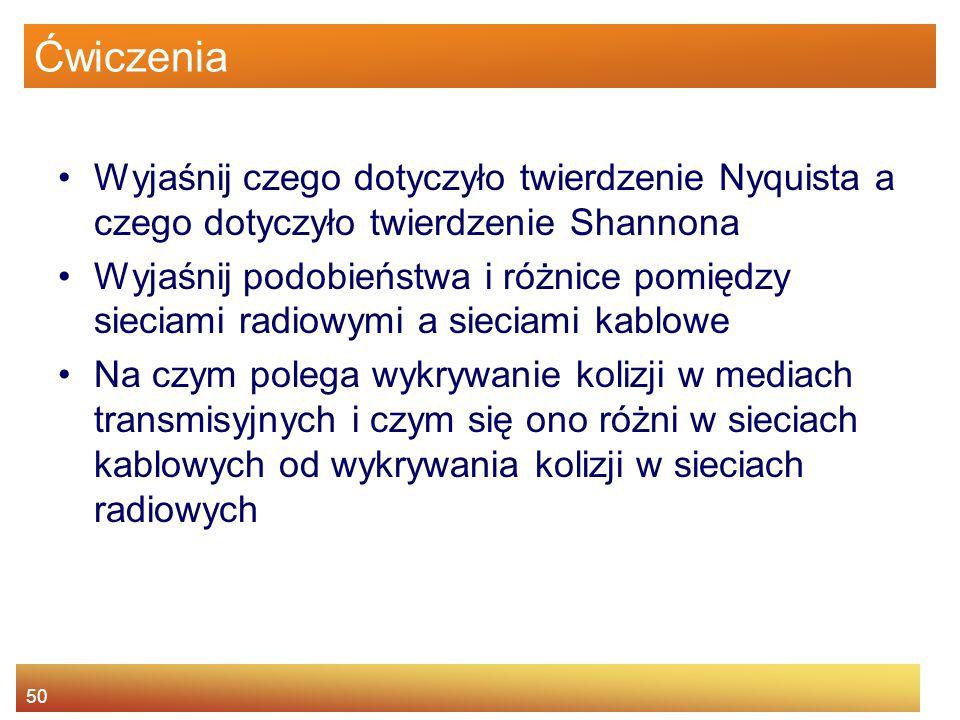 Ćwiczenia Wyjaśnij czego dotyczyło twierdzenie Nyquista a czego dotyczyło twierdzenie Shannona.