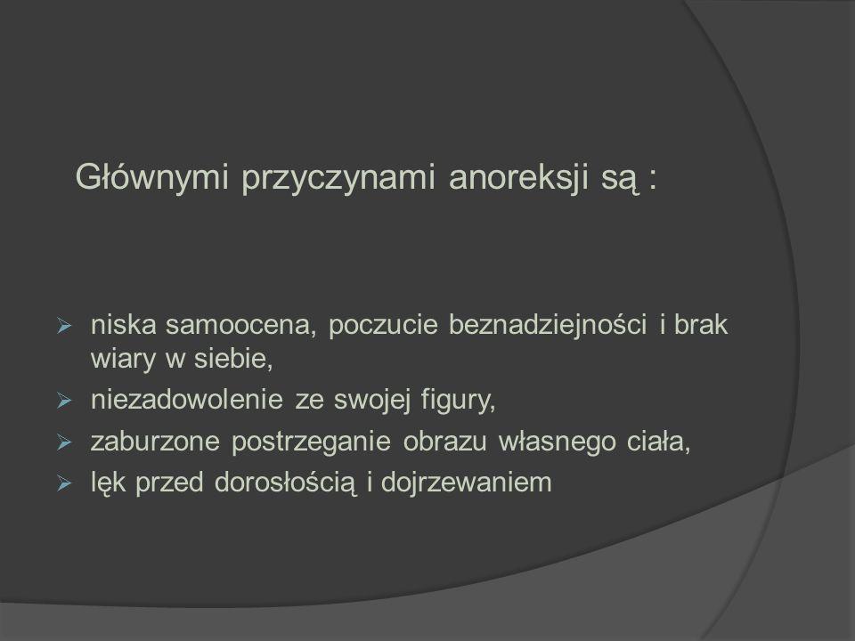 Głównymi przyczynami anoreksji są :