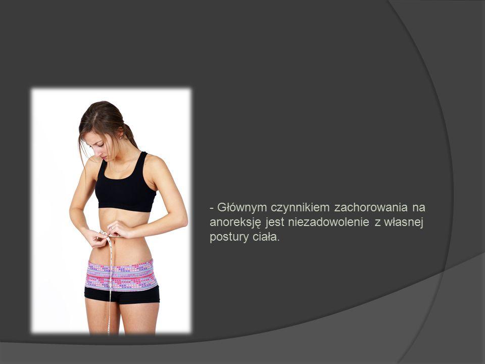 - Głównym czynnikiem zachorowania na anoreksję jest niezadowolenie z własnej postury ciała.