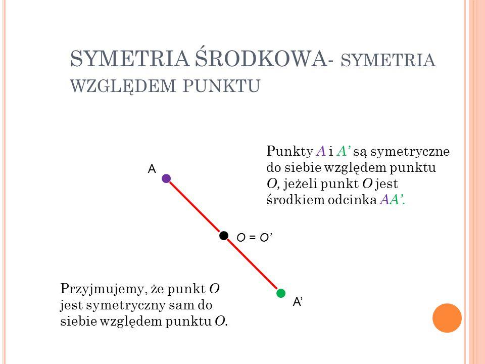 SYMETRIA ŚRODKOWA- symetria względem punktu
