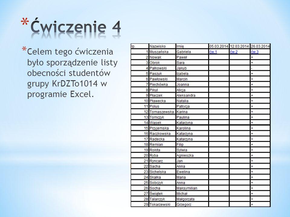 Ćwiczenie 4 Celem tego ćwiczenia było sporządzenie listy obecności studentów grupy KrDZTo1014 w programie Excel.