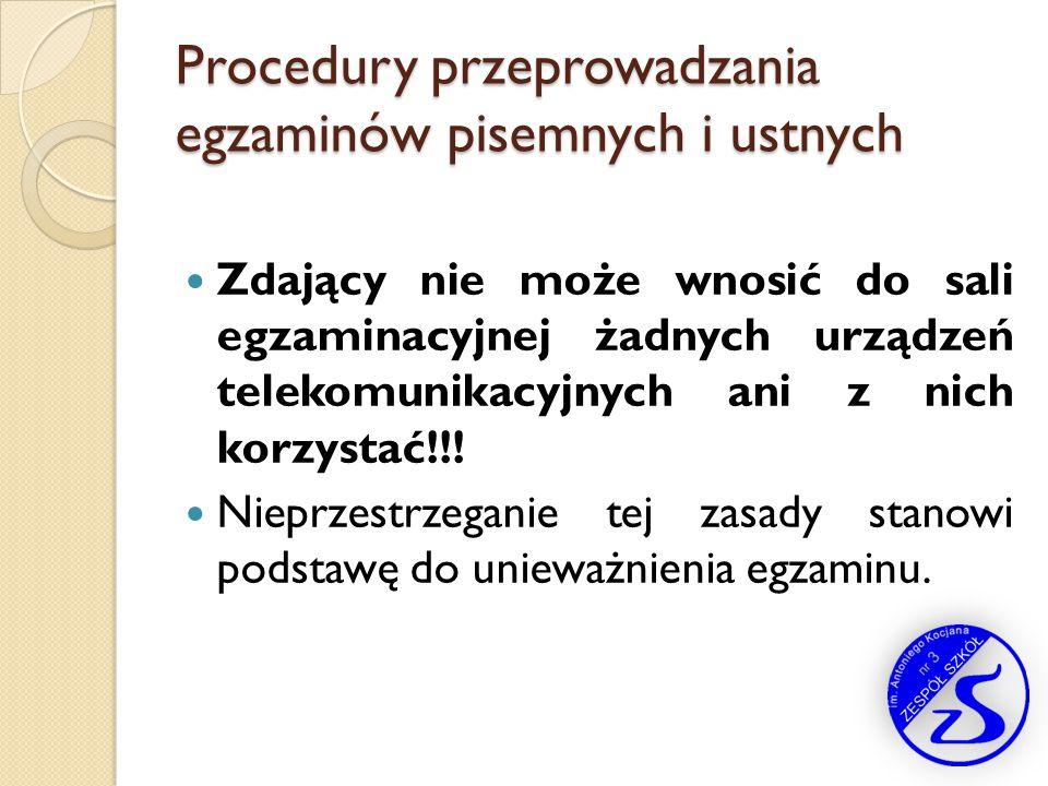 Procedury przeprowadzania egzaminów pisemnych i ustnych