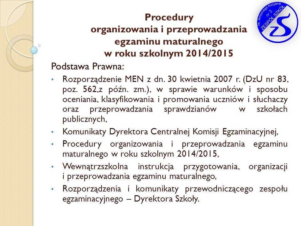 Procedury organizowania i przeprowadzania egzaminu maturalnego w roku szkolnym 2014/2015