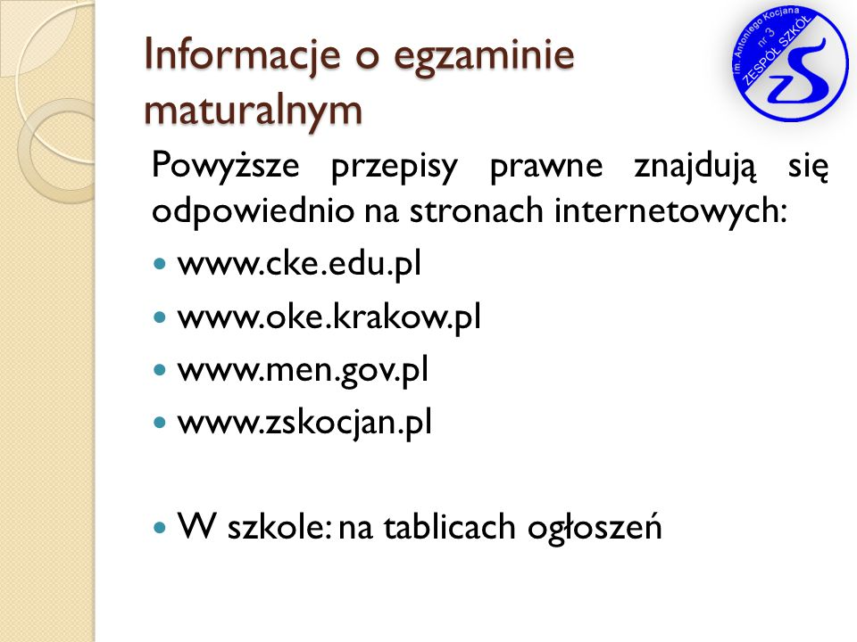 Informacje o egzaminie maturalnym