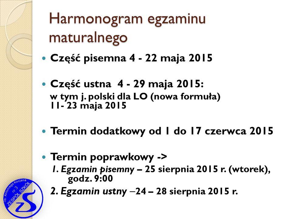 Harmonogram egzaminu maturalnego