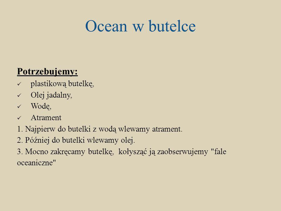 Ocean w butelce Potrzebujemy: plastikową butelkę, Olej jadalny, Wodę,