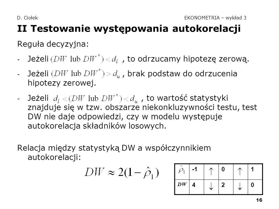 D. Ciołek EKONOMETRIA – wykład 3