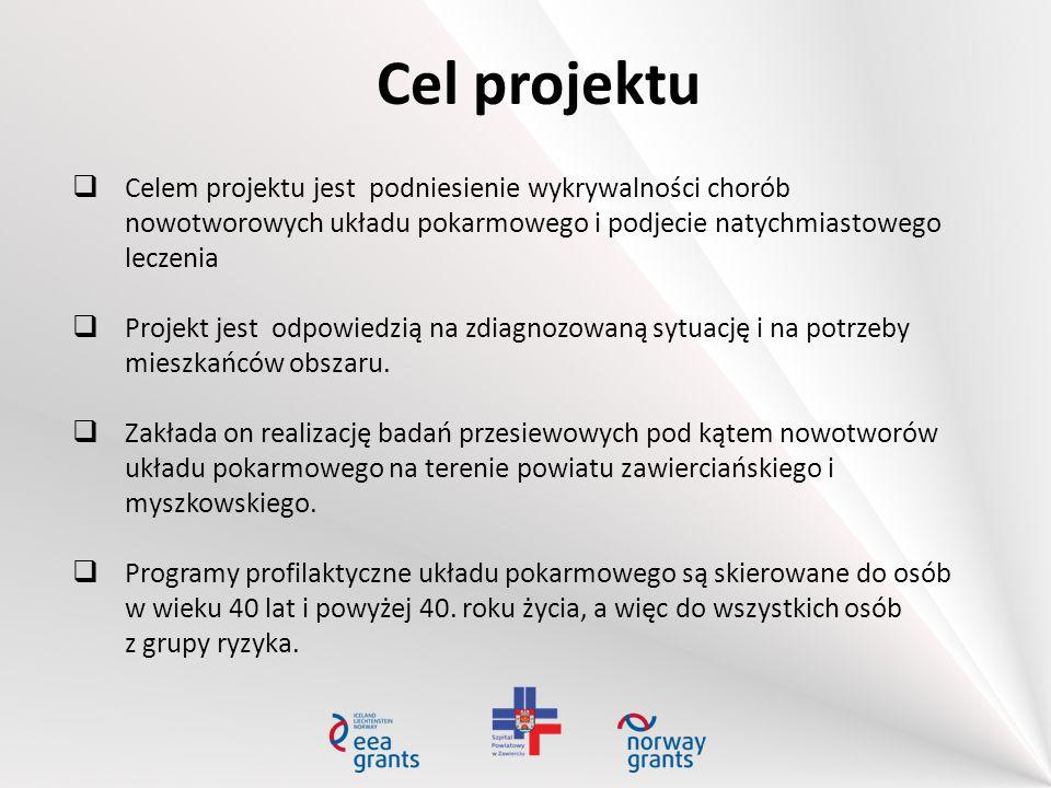 Cel projektu Celem projektu jest podniesienie wykrywalności chorób nowotworowych układu pokarmowego i podjecie natychmiastowego leczenia.
