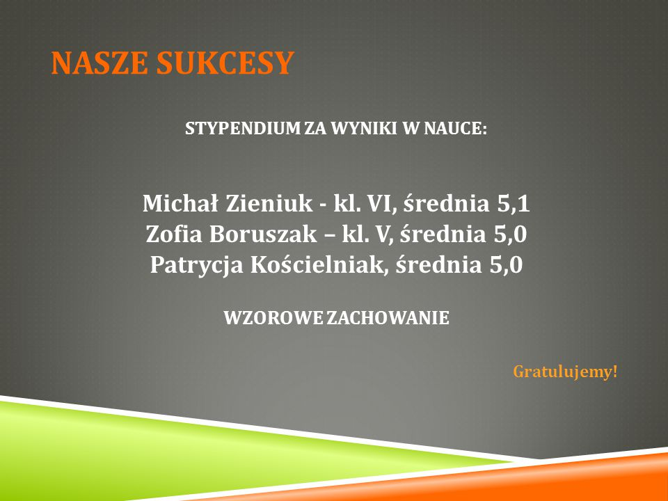 NASZE SUKCESY Michał Zieniuk - kl. VI, średnia 5,1