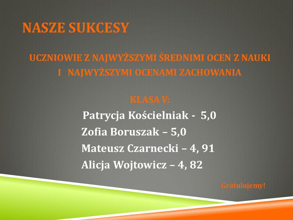 NASZE SUKCESY Zofia Boruszak – 5,0 Mateusz Czarnecki – 4, 91