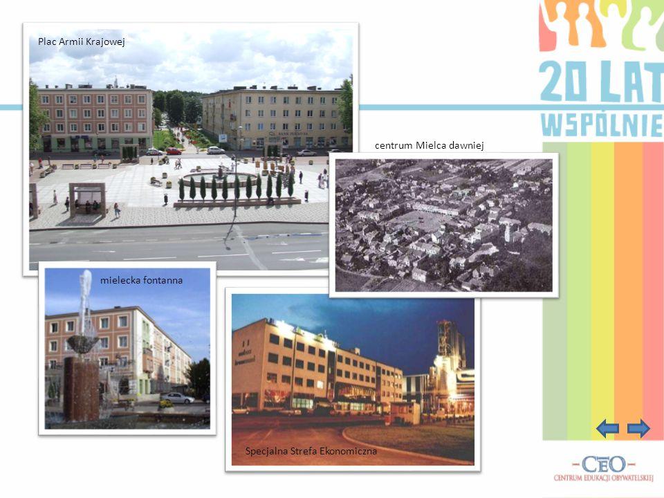 Plac Armii Krajowej centrum Mielca dawniej mielecka fontanna Specjalna Strefa Ekonomiczna