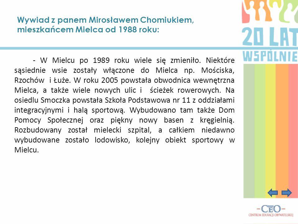 Wywiad z panem Mirosławem Chomiukiem, mieszkańcem Mielca od 1988 roku: