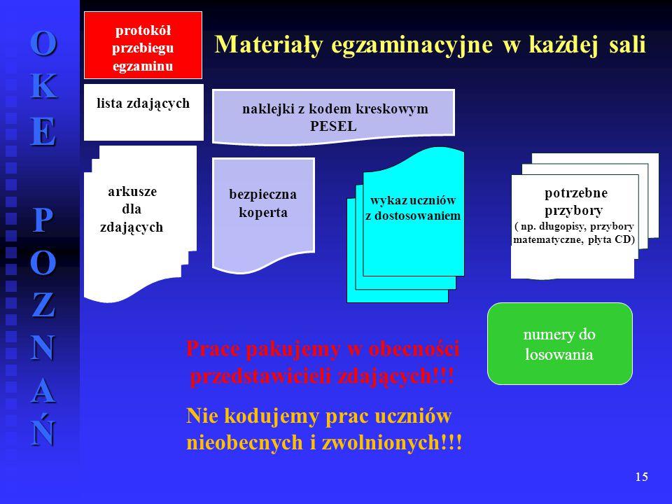 Materiały egzaminacyjne w każdej sali