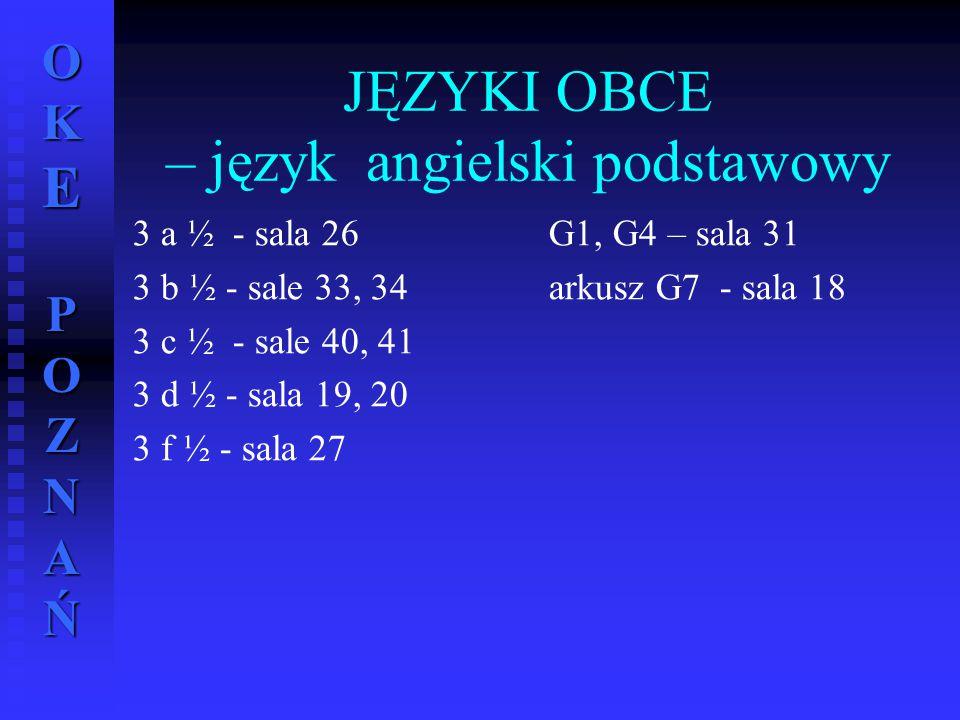 JĘZYKI OBCE – język angielski podstawowy
