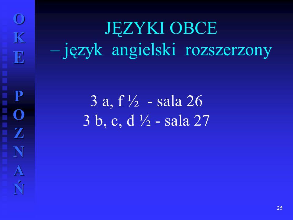 JĘZYKI OBCE – język angielski rozszerzony