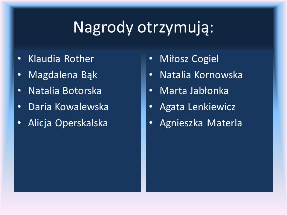 Nagrody otrzymują: Klaudia Rother Magdalena Bąk Natalia Botorska