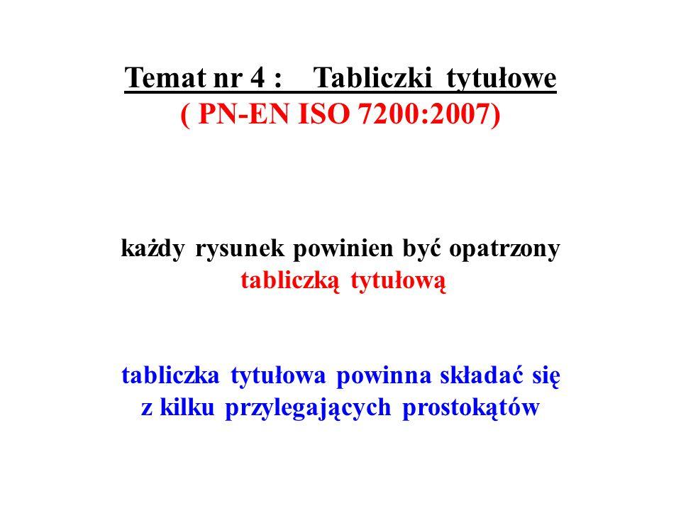 Temat nr 4 : Tabliczki tytułowe ( PN-EN ISO 7200:2007)