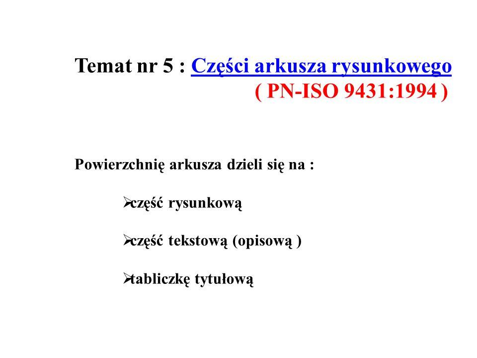 Temat nr 5 : Części arkusza rysunkowego ( PN-ISO 9431:1994 )